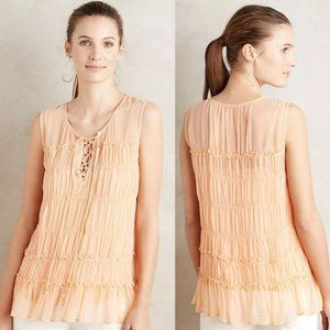 Anthro Floreat Calla Peach Sheer Tiered Blouse 00